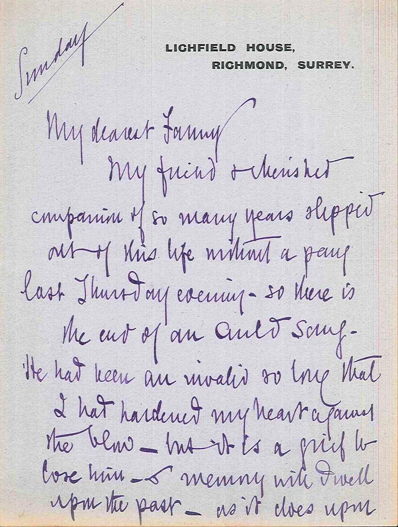Mary Braddon letter