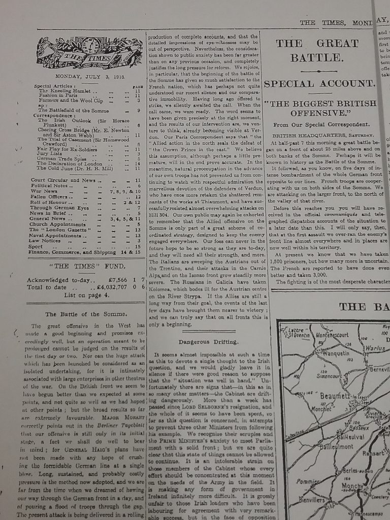 The Times, Monday July 3, 1916