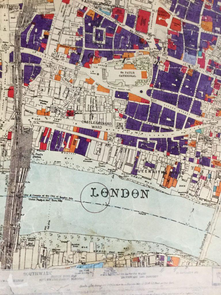 Bomb damage map showing St Paul's1