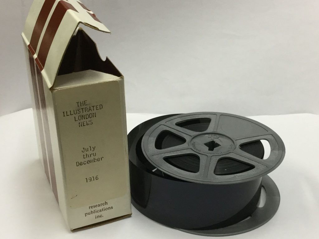 Illustrated London News microfilm box and reel