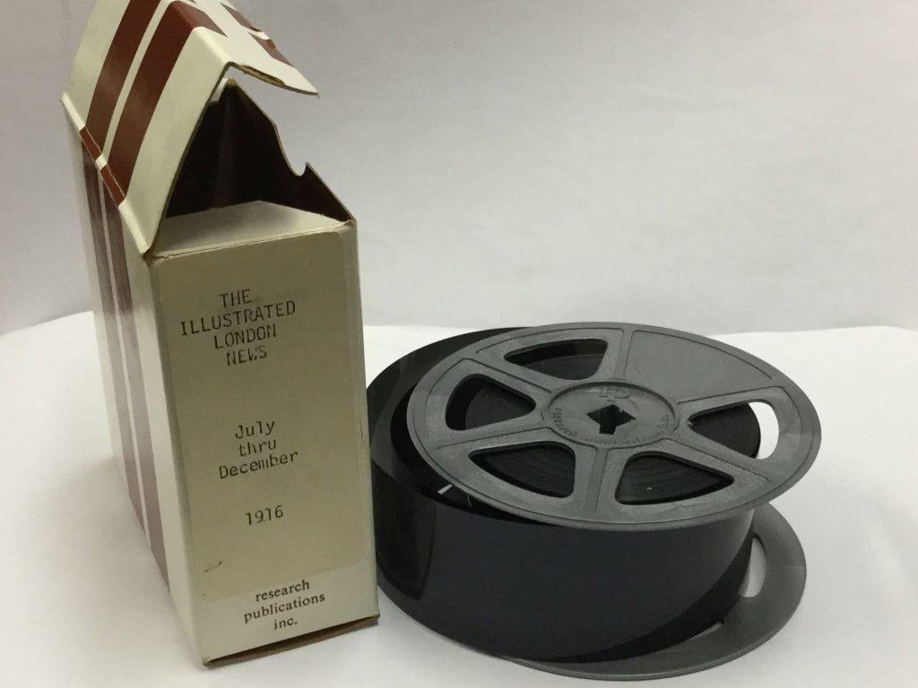 Illustrated London News microfilm box and reel