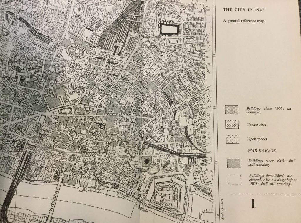 A general reference map showing war damage, vacant sites and open spaces