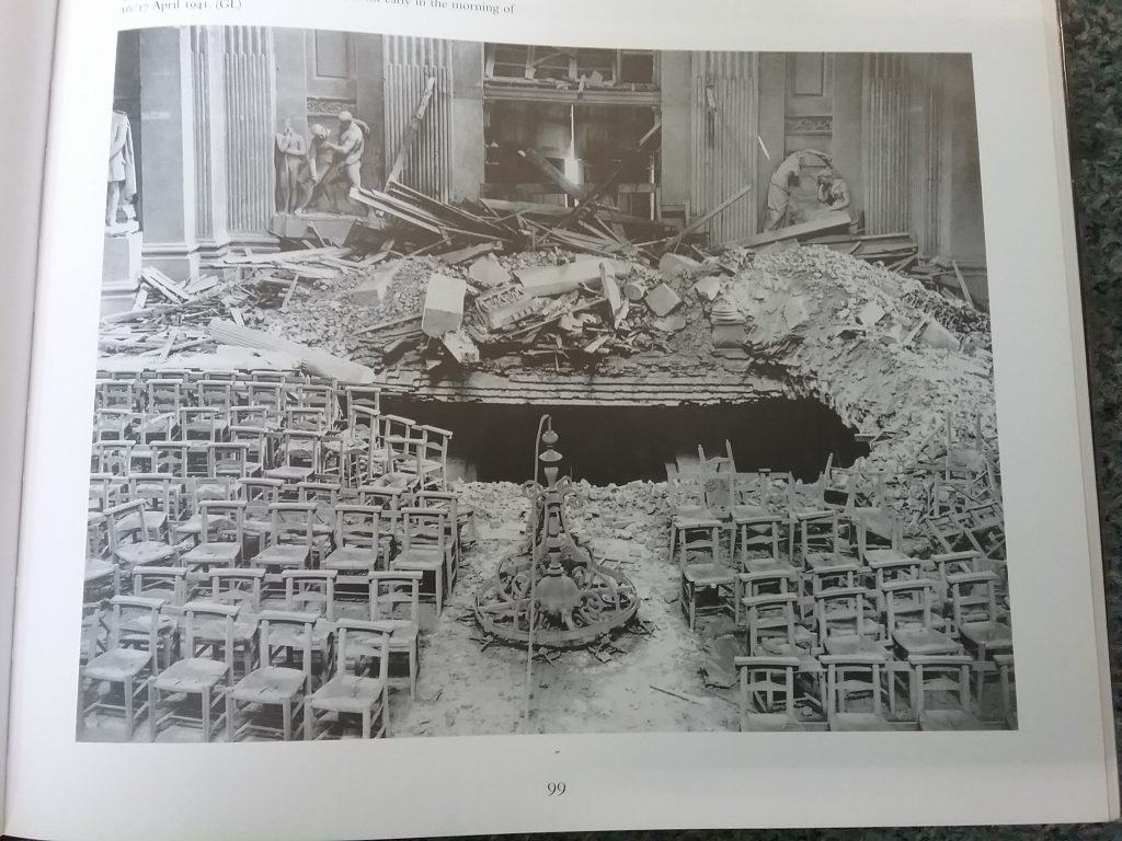 The north transept floor of St. Paul's after a direct hit early in the morning of 16/17 April 1941.
