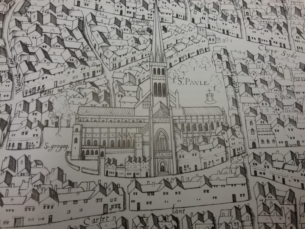 St Paul's as depicted in the 'copperplate map' of London of the 1550s. The last known view of the cathedral before the spire was struck by ligthning and fell in 1561.