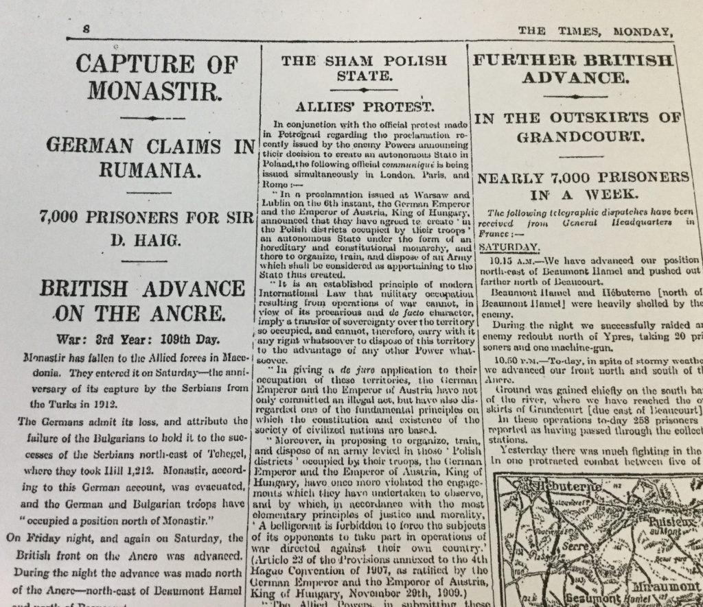 The Times Mon 20th Nov 1916