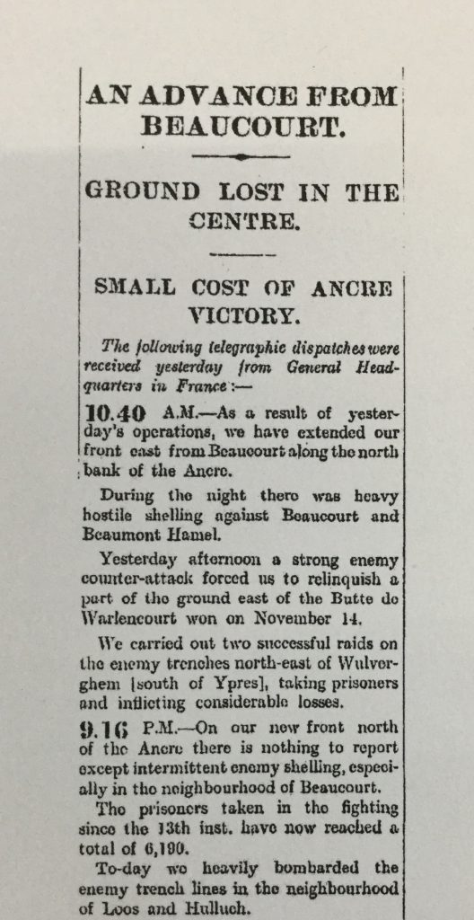The Times Sat 18th Nov 1916