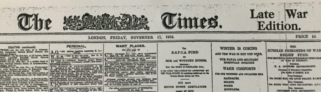 The Times, front page, Fri 17 Nov 1916
