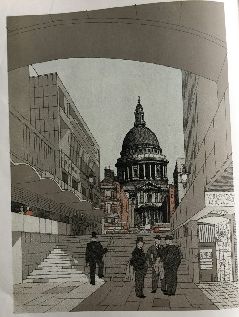 An impression of a possible treatment of the proposed new approach to St. Paul's from the River. Illustration by Gordon Cullen).