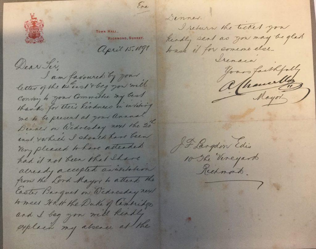 Chancellor's letter 15 April 1898