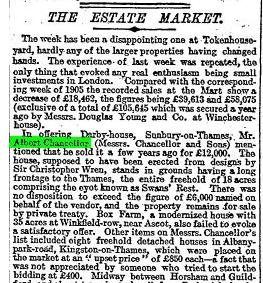The Times 13 Oct 1906 Estates market