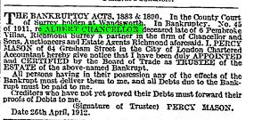 The Times 29 Apr 1912 bankruptcy notice