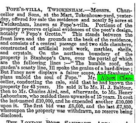 The Times 30 Oct 1907 Sale of Pope's Villa