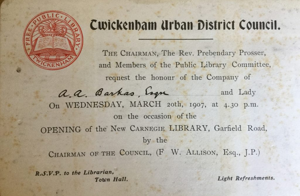 Invitation to the opening of Twickenham Library
