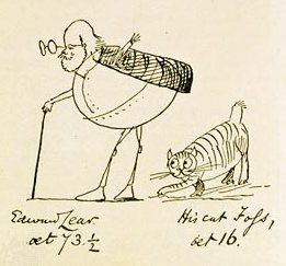 Self-portrait of Edward Lear and his cat