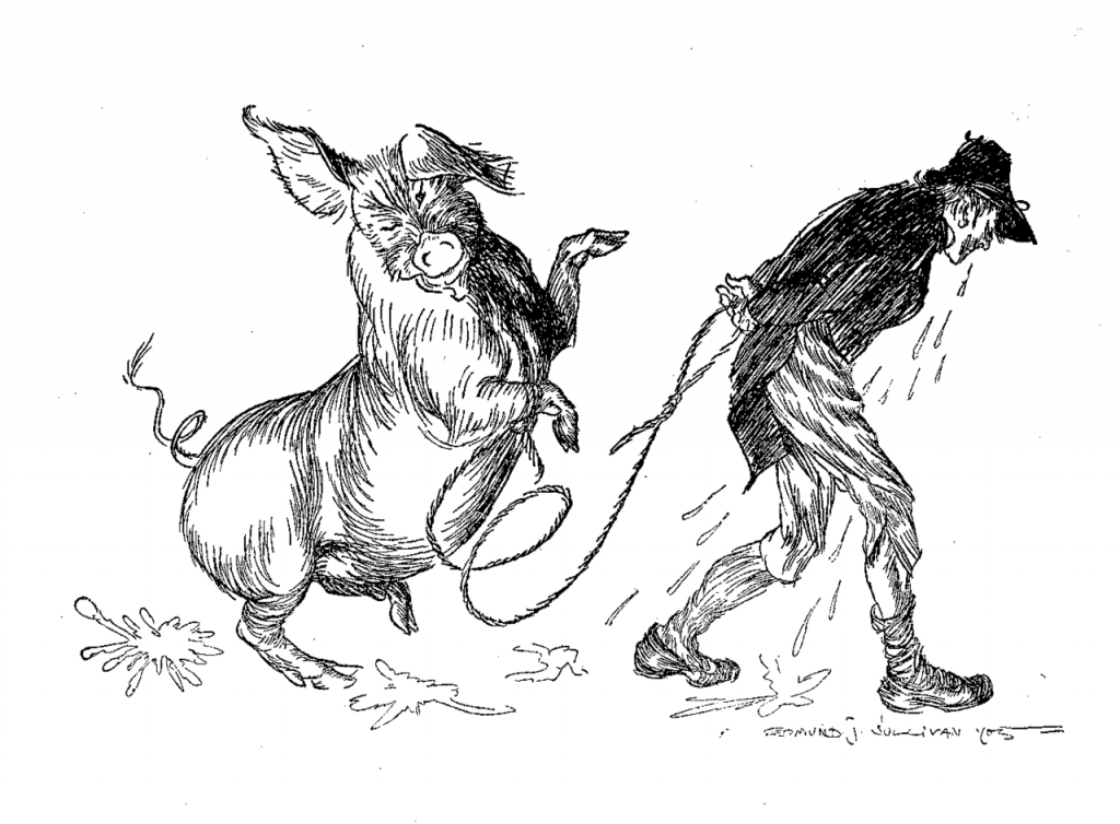 Illustration of a pig and a man