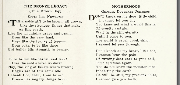 Section of The Crisis showing Newsome's poem
