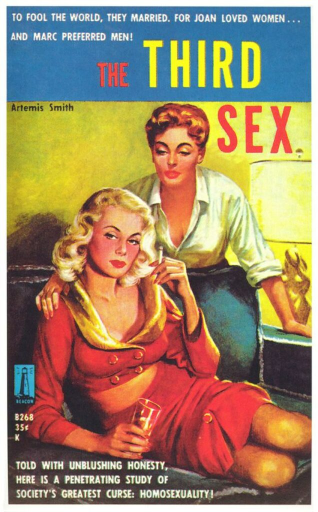 """Book cover for The Third Sex by Artemis Smith. The cover features bright, bold primary colours. One woman with short hair and wearing a white shirt leans over a blonde in a red dress who is lounging on a sofa with a drink and a cigarette. Cover text reads: """"To fool the world, they married, for Joan loved women... and Marc preferred men!"""" and """"Told with unblushing honesty, here is a penetrating study of society's greatest curse: homosexuality!"""""""